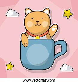 cat with coffee cup decoration cloud star