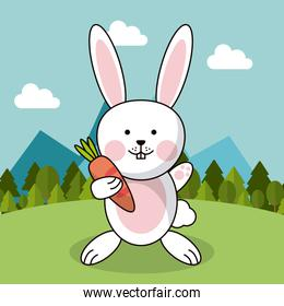cute rabbit with carrot adorable landscape natural