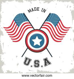 made in USA flag crossed with shield star emblem
