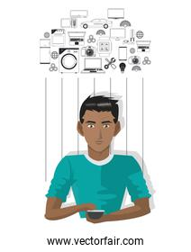 young man smartphone internet of things
