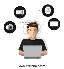 man usign computer internet things icons