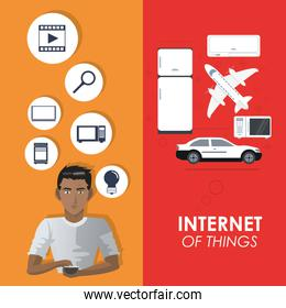 internet of things concept connection elements poster