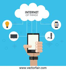 internet of things hand smartphone cloud computing device