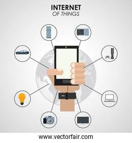 internet of things hand holding smartphone digital network technology