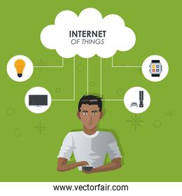 internet things man with smartphone cloud computing technologies trendy