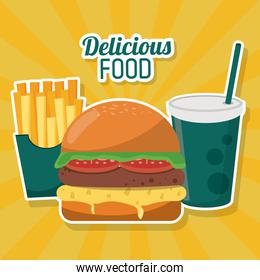 delicious food fast burger french fries soda straw