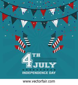 4th july independence day garland confetti fireworks design