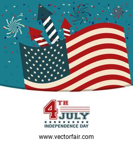 4th july independence day USA flag confetti fireworks decoration happy