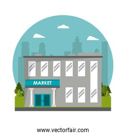 market building commercial tree city background