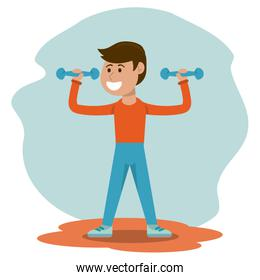 physical education - boy weight lifting physical education