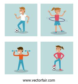 set kids practicing sport physical education school