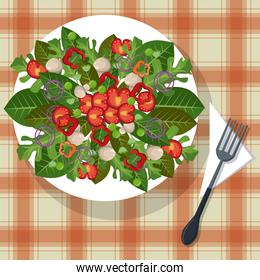 vegetables dish tablecloth with fork