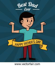 fathers day card, best dad ever. cartoon dad strong design