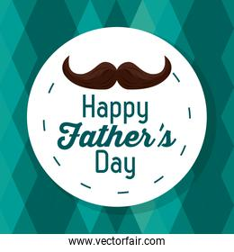 happy fathers day. greeting card text mustache geametric background