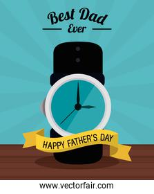fathers day card, best dad ever. clock time ribbon decoration