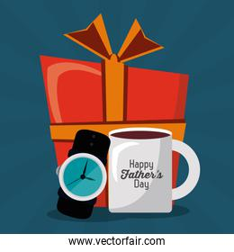 happy fathers day. greeting card. coffee cup watch gift party