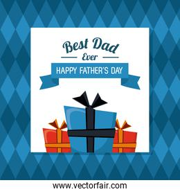 fathers day card, best dad ever gift boxes with geometric background