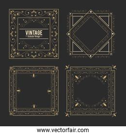 vintage exclusive set of luxury golden badges and stickers. royal flourishes