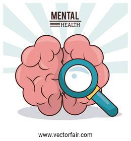 mental health, human brain with magnifier image
