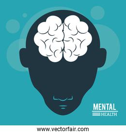 mental health, head human, silhouette face and brain in flat style