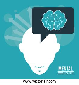 mental health, human head with brain arrows thinking image