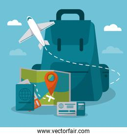 travel concept. backpack airplane passport map credit card