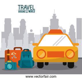 travel around the world. taxi car luggage photo camera with city background