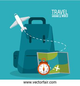 travel around the world backpack time map plane