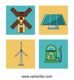 set ecology environment recycle conservation nature icons