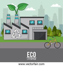 eco lifestyle building industrial recycle bike transport sustainable