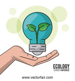 ecology green world hand holding bulb plant growth inside image