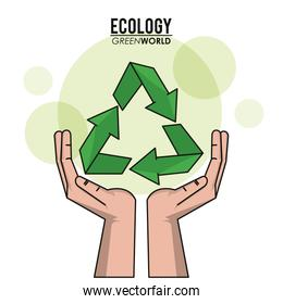 ecology green world hand recycle symbol