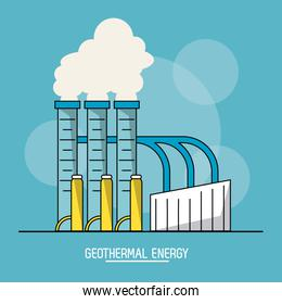blue color background with bubbles of geothermal energy production plant