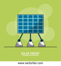 green color background with bubbles of solar energy panel
