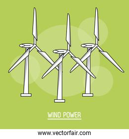 green color background with bubbles of wind power plant with turbines