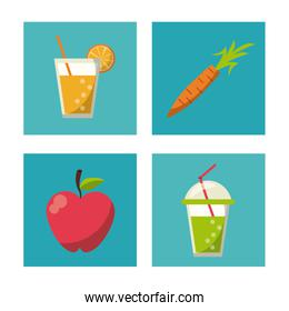 multicolored square buttons set of healthy fruits and beverages