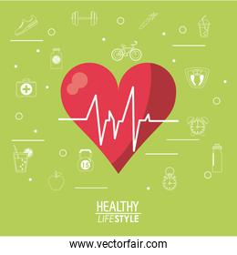 color background with heartbeat rhythm and silhouette sport elements