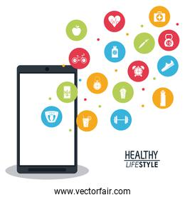 smartphone with app silhouette healthy lifestyle icons