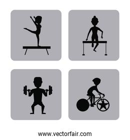 monochrome square buttons set of female and male silhouette athletes of differents olympic sports