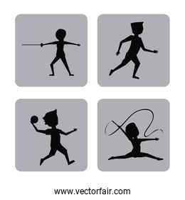 monochrome square buttons set of female and male silhouette athletes of variety sports