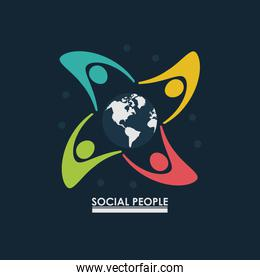 group of people around earth globe concept social people