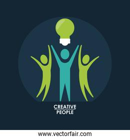 color background with circular frame of creative set people pictogram with light bulb