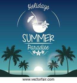 poster sunset landscape of palm trees on the beach with logo holidays summer paradise and cocktail coconut