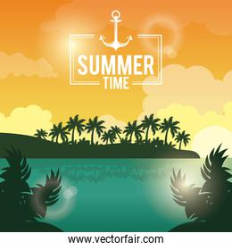 poster sunset landscape of palm trees on the beach with logo summer time with anchor