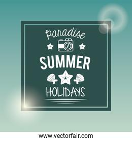 poster with square frame of logo text paradise summer holidays with camera