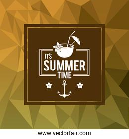 abstract polygonal background with square frame of logo text summer time with coconut cocktail