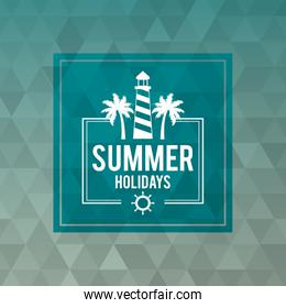 abstract polygonal background with square frame of logo text summer holidays with lighthouse