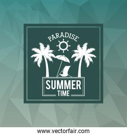 abstract polygonal background with square frame of logo text paradise summer time with beach