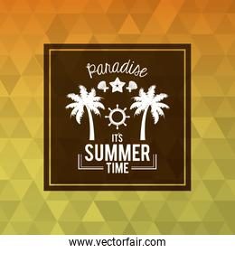 abstract polygonal cartel with square frame of logo text paradise summer time with beach