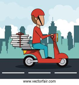 poster city landscape with fast pizza delivery man in red scooter